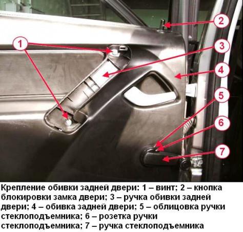 Как снять обшивку задней и передней двери на Лада Гранта